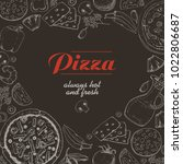vector background with pizza...   Shutterstock .eps vector #1022806687
