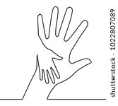 caring hand logo continuous... | Shutterstock .eps vector #1022807089