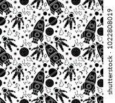 space seamless pattern.... | Shutterstock .eps vector #1022808019