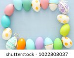 top view of easter colorful... | Shutterstock . vector #1022808037
