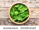 fresh baby spinach leaves in... | Shutterstock . vector #1022814169