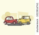 illustration of car crash  | Shutterstock . vector #1022816761