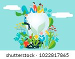happy people taking care of the ... | Shutterstock .eps vector #1022817865