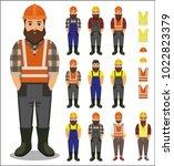 set of builder worker man in...   Shutterstock .eps vector #1022823379