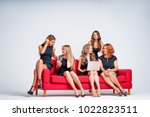 group of young pretty... | Shutterstock . vector #1022823511
