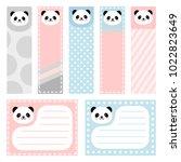 cute panda note sticker  note... | Shutterstock .eps vector #1022823649