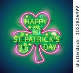 happy st patricks day glowing... | Shutterstock .eps vector #1022826499