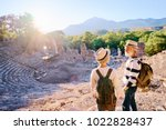 travel and tourism. senior... | Shutterstock . vector #1022828437