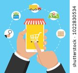online shopping concept. hands... | Shutterstock .eps vector #1022830534