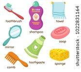 cartoon bathroom accessories... | Shutterstock .eps vector #1022831164