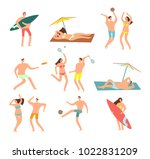people in swimsuits in sea... | Shutterstock .eps vector #1022831209