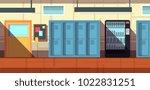 nobody school corridor interior ...   Shutterstock .eps vector #1022831251