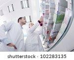 team of  pharmacist chemist...   Shutterstock . vector #102283135