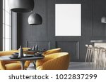 black cafe interior with a... | Shutterstock . vector #1022837299