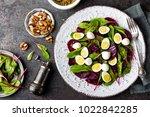 fresh vegetable salad with...   Shutterstock . vector #1022842285