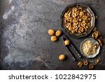 walnut kernels and whole...   Shutterstock . vector #1022842975