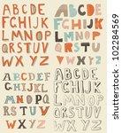 4 sets of latin alphabet | Shutterstock .eps vector #102284569