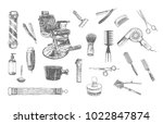 hairdressers professional tools ... | Shutterstock .eps vector #1022847874