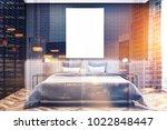 black bedroom interior with a...   Shutterstock . vector #1022848447
