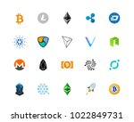 20 most popular cryptocurrency... | Shutterstock .eps vector #1022849731