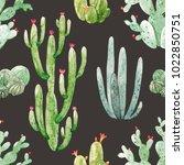 watercolor  pattern  cacti ...   Shutterstock . vector #1022850751
