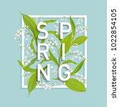 floral spring design template... | Shutterstock .eps vector #1022854105