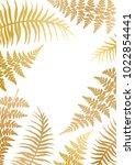 gold fern frame vector... | Shutterstock .eps vector #1022854441