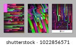 abstract design set in glitch... | Shutterstock .eps vector #1022856571