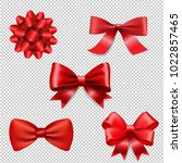 red ribbon bow set isolated  | Shutterstock . vector #1022857465