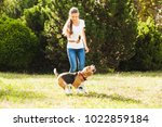 girl plays with a dog in the... | Shutterstock . vector #1022859184