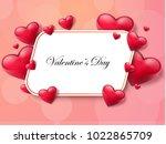 2018 valentine's day background ... | Shutterstock .eps vector #1022865709