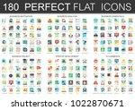 180 vector complex flat icons... | Shutterstock .eps vector #1022870671