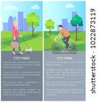 walking with dog blonde and man ... | Shutterstock .eps vector #1022873119