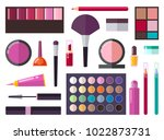 make up collection  poster with ... | Shutterstock .eps vector #1022873731