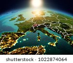 sunrise above switzerland... | Shutterstock . vector #1022874064
