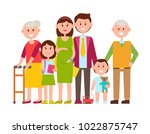 family poster of happy members  ... | Shutterstock .eps vector #1022875747