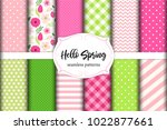 set of cute seamless hello... | Shutterstock .eps vector #1022877661