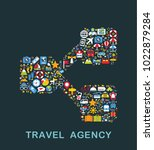 travel icons are grouped in... | Shutterstock .eps vector #1022879284