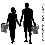 couple holding hand and walking ... | Shutterstock .eps vector #1022883241