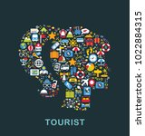 travel icons are grouped in... | Shutterstock .eps vector #1022884315