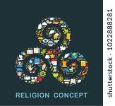 religion icons are grouped in... | Shutterstock .eps vector #1022888281