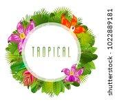 green summer circle tropical... | Shutterstock .eps vector #1022889181