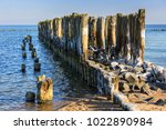 frozen wooden breakwaters line...   Shutterstock . vector #1022890984