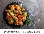 bbq chicken wings  spicy...   Shutterstock . vector #1022891191