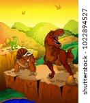 cute cartoon tyrannosaurus and... | Shutterstock .eps vector #1022894527