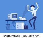 office printer error. angry... | Shutterstock .eps vector #1022895724