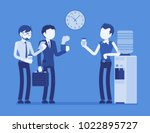 office cooler chat. young male... | Shutterstock .eps vector #1022895727