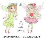 two hand drawn beautiful cute... | Shutterstock .eps vector #1022899375