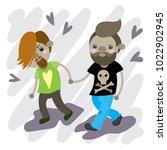 couple in love. vector... | Shutterstock .eps vector #1022902945