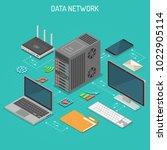 data network isometric business ... | Shutterstock .eps vector #1022905114